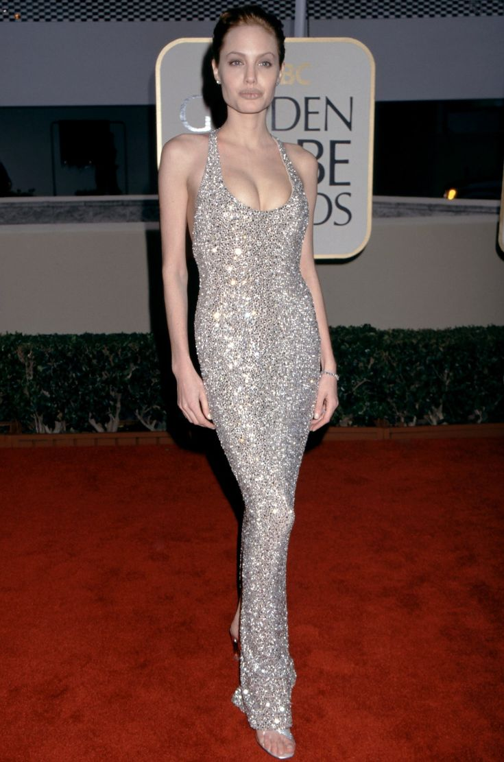 Angelina Jolie arrives at the 1999 Golden Globe Awards.