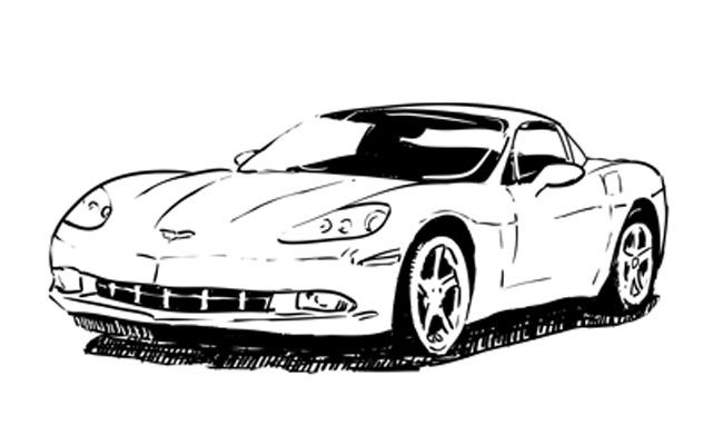 how to draw a chevy corvette
