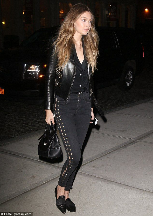 Gigi Hadid tries out a rock chick look with skinny jeans and a leather jacket   Daily Mail Online