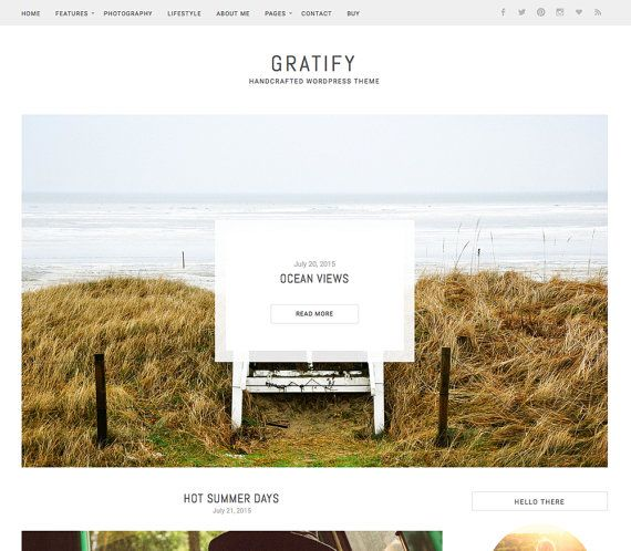 Gratify Wordpress Theme for Bloggers. Featuring large post slider, sticky menu, widget ready sidebar, theme options panel and post signature.