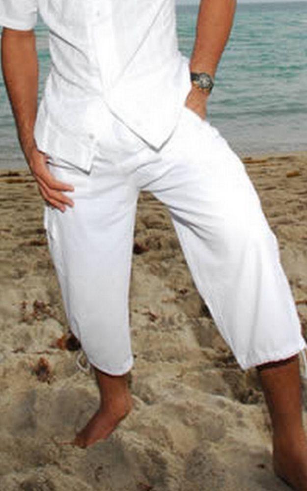 "Organic Cotton Legs Drawstring ""Zair"" Summer Cargo Men's Capri Pants #Handmade #Capri"