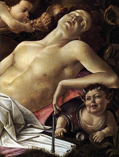Venus and Mars - Artist: Sandro Botticelli. Completion Date: 1483. Style: Early Renaissance. Genre: mythological painting