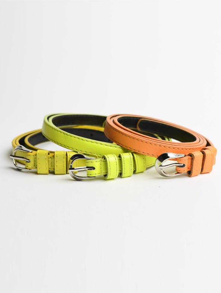Tripe Buckle Skinny Belt in Yellow, Lime Green & Orange.    Shop now at www.jolietta.com