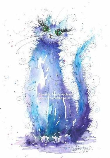 Cat painting by Sophie Appleton £13.95 on the 'Art 4 SALE' page of www.sixfootsophie.co.uk
