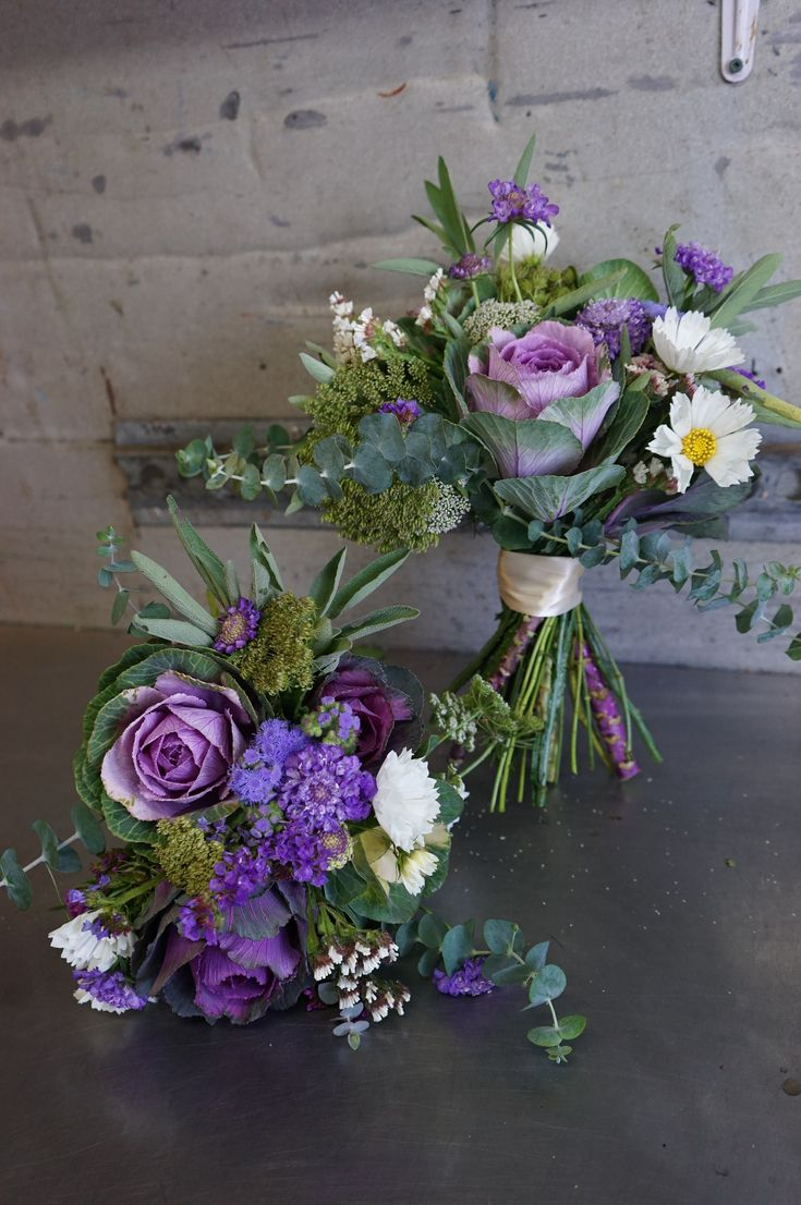 fall purple bouquets with kale flowers, scabiosa, ageratum, sage, eucalyptus and cosmos. 100% organic and ottawa grown