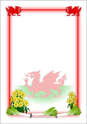 St. David's Day 1st March | Wales-themed A4 page borders (SB3235) - SparkleBox