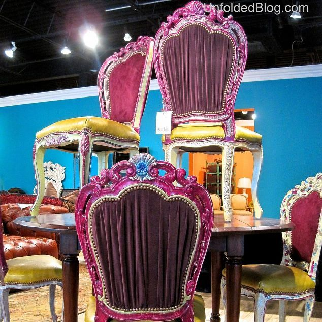peek inside the fall furniture market and get inspired by annie sloan, chalk paint, painted furniture, rustic furniture, Look at the English Yellow seats and bright fuschia All colors that are achievable from Chalk Paint by Annie Sloan colors