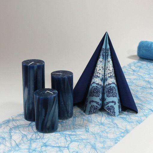 Inspiration til mørkeblå borddækning  #Tekstilservietter #BlåStudent