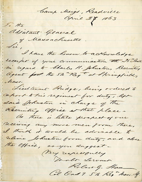 Letter written by Col. Robert Gould Shaw | History | Pinterest
