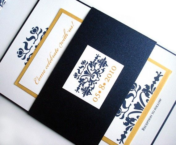 Wedding Invitation set - Navy blue and Gold Brocade damask Set w/ Belly Band - Metallic Bat mitzvah, sweet sixteen