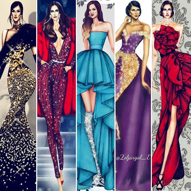 """Some of my selected illustrations for the upcoming """"Fashion Illustration - Dresses & Gowns Inspiration"""" book I'm excited and thrilled to be a part of this amazing book alongside many talented artists. It will get published in a few months. (Golden Girl, Zuhair Murad, Miss Couture, Nidal Nouaihed, Marchesa design) #fashionbook #book #upcoming #highfashion #hautecouture #inspiration #fashionillustration #dress #fashionillustrator"""