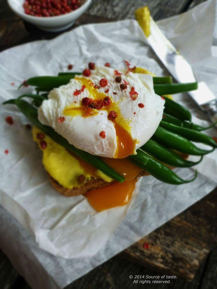 Open-face poached egg & green bean sandwich