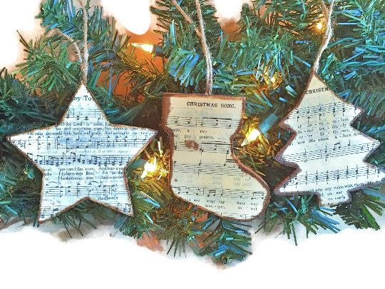 Christmas Music Ornaments, Christmas Hymn Ornaments, Christmas Hymn Sheet Music Ornaments, Star Stocking Christmas Tree Wooden Ornaments by AtHomeWithWords on Etsy https://www.etsy.com/listing/255920045/christmas-music-ornaments-christmas-hymn