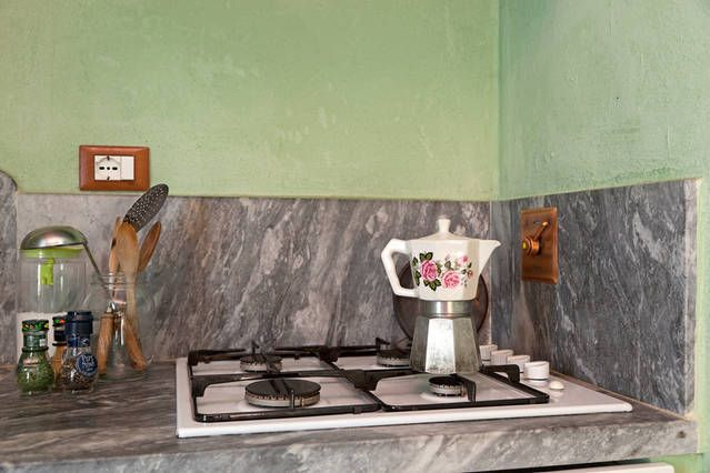 In our gas stove ...a traditional Italian coffee maker in ceramics!
