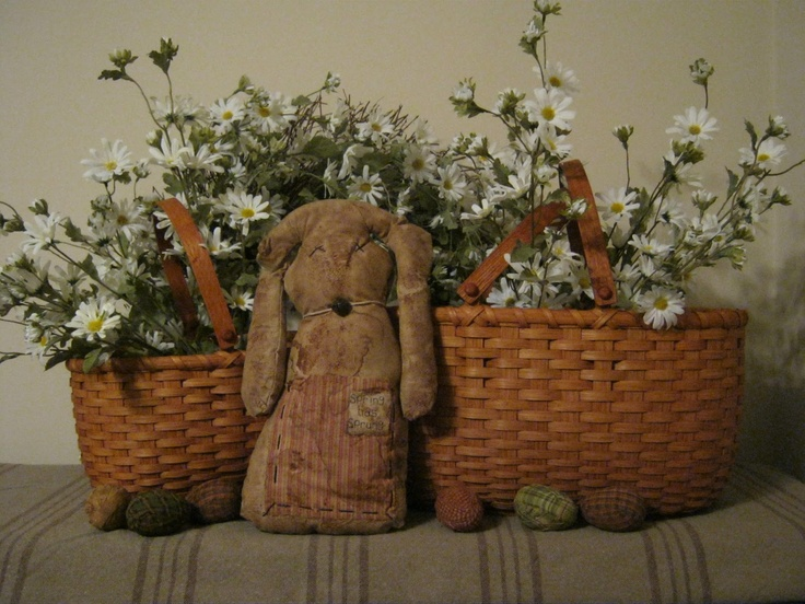 Spring has sprung bunny and baskets with flowers