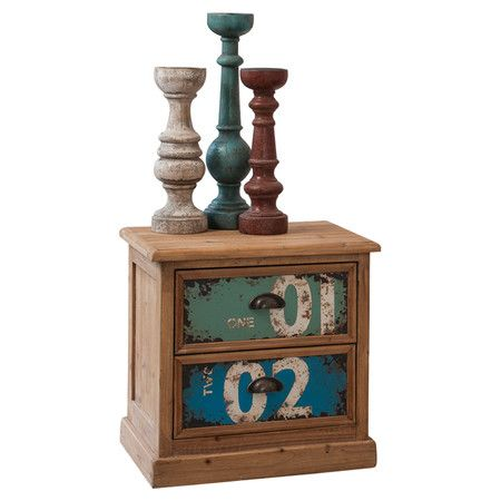 Organise crafting supplies or stationery with this handsome wood cabinet, showcasing two multicoloured drawers with cup-style pulls.     ...