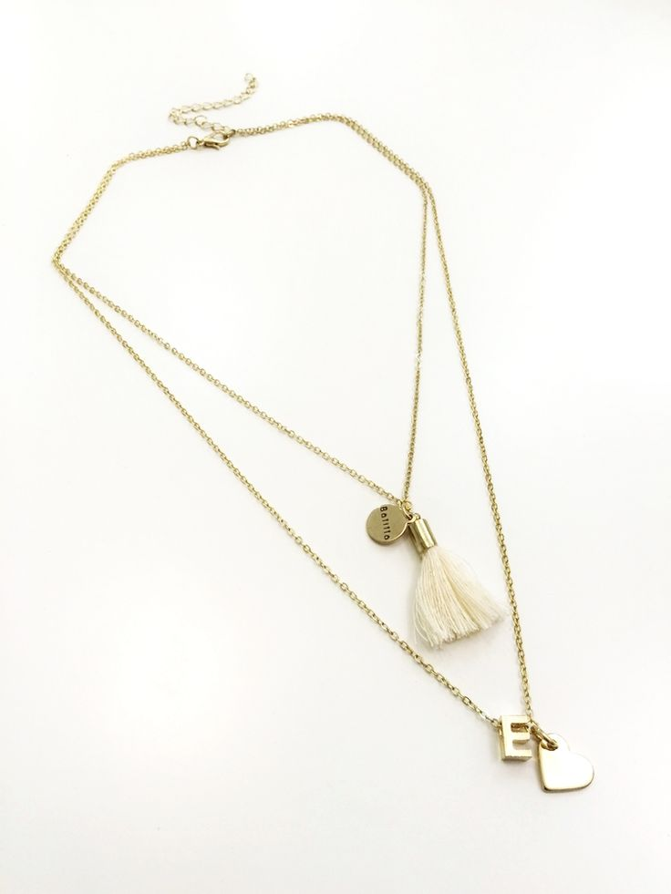 gold alphabet personalized initial necklace with tassel and heart charm