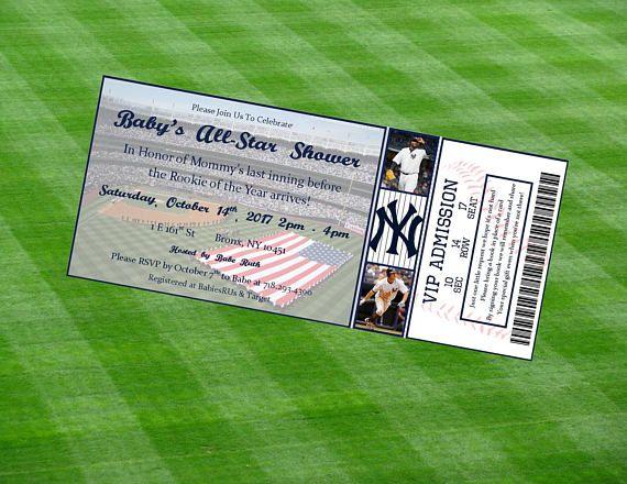 New York Yankees Inspired MLB Baseball Ticket Baby Shower