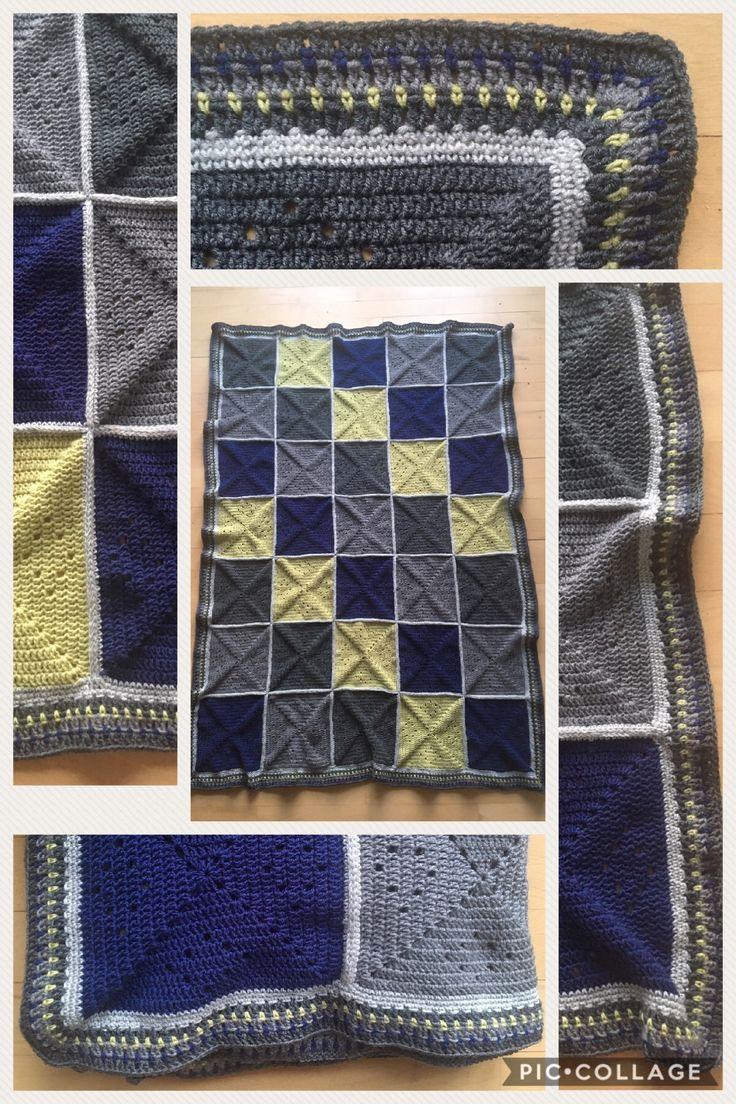 Hæklet tæppe til min søn. Færdig 8/7-2017. Lavet af Drops 100% merinould. Nål 4.0. Vejer... ***** Crochet blanket for my son. Finished 8/7-2017. Made by Drops 100% merino wool. Hook 4.0. Weight: xxxx