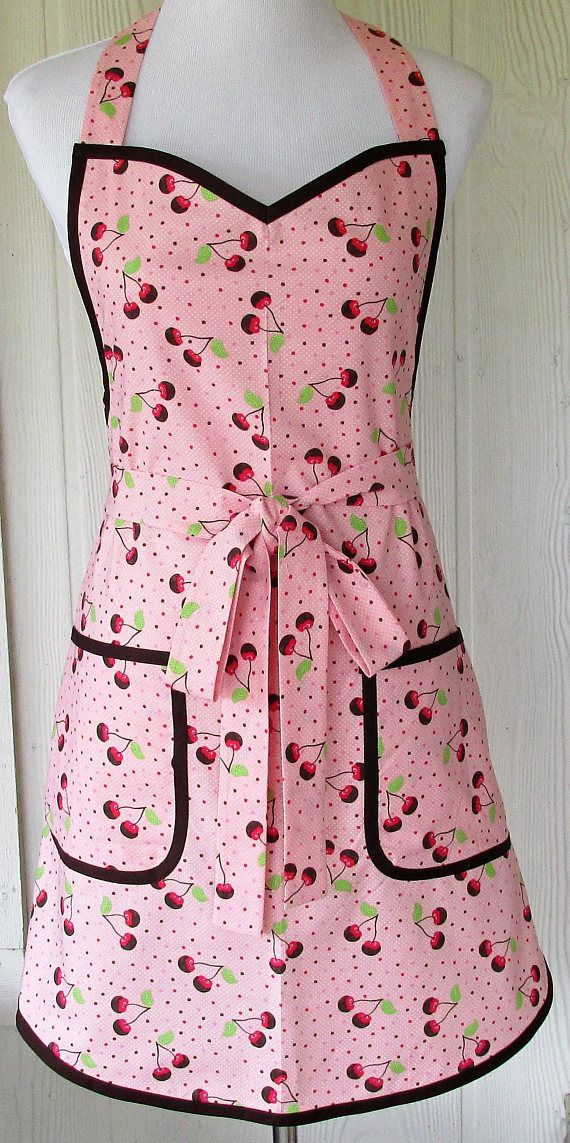 Retro Cherry Apron 50s Pink and Brown Chocolate Covered