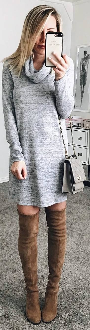 #winter #outfits grey sweater dress, long brown boots
