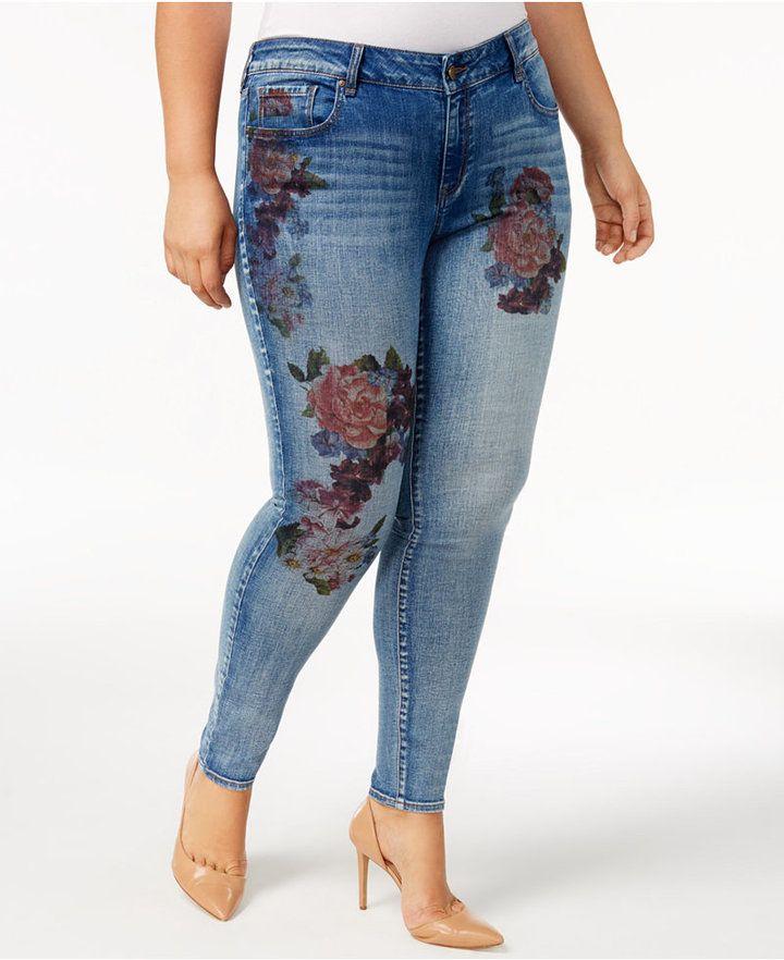 William Rast Trendy Plus Size Printed Skinny Jeans