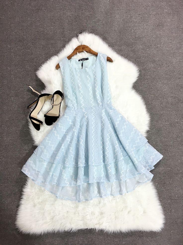 Azure Lace Multi-Layered Dress
