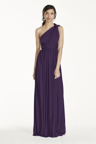 The options are endless in this versatile and chic covertible jersey dress! Floor length jersey sheath dress can be styled in endless ways. For a truly unique bridal party, your bridesmaids can each wear this dress differently! Style options include: Halter, knotted tank, twist back, cap sleeve, one shoulder and more! Not lined. Imported polyester. No zipper. Dry clean only. SEE HOW TO STYLE IT