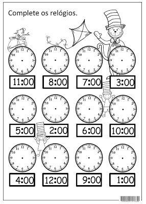 SOS PROFESSOR-ATIVIDADES: Que horas são?