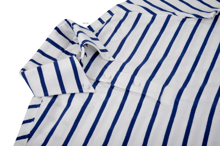 From softness to elasticity, knit fabrics offer many advantages e.g, it is comfortable to wear, easy care, moisture absorbing and many more. This is a Cobalt Blue White Stripes Jersey pullover shirt constructed by Luxire:http://custom.luxire.com/products/tpr-jersey-cobalt-blue-white-stripes-tpr_cobalt_blue_white_stripes_jsy_53  Which consists of a button down collar and short sleeves.