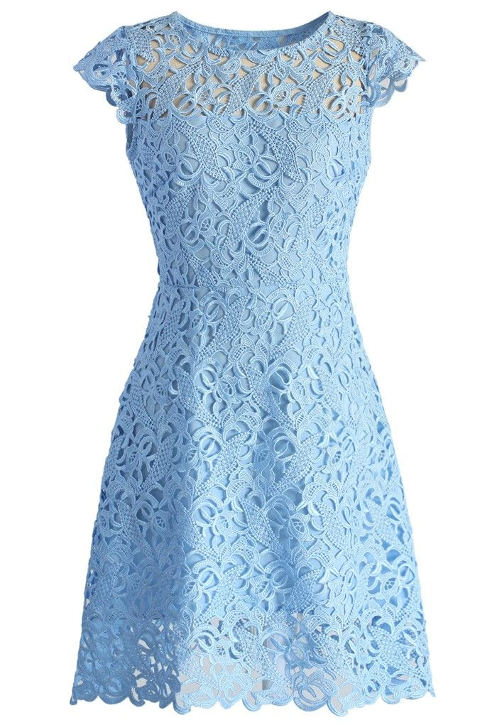 Blue Jasmine Lace Crochet Dress