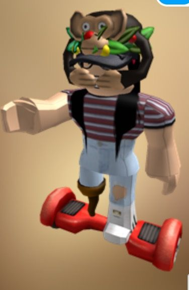 What I'm wearing:      Hats: Festive crown, i am a spy hat, Iwazaru monkey hat.      Shirt: Burgundy and baby blue crop top.      Pants: Light ripped jeans w/ adidas superstars.     Body: Robloxian 2.0 right arm left arm left leg. Pirate right leg.    Accessories: Hoverboard and nerd glasses