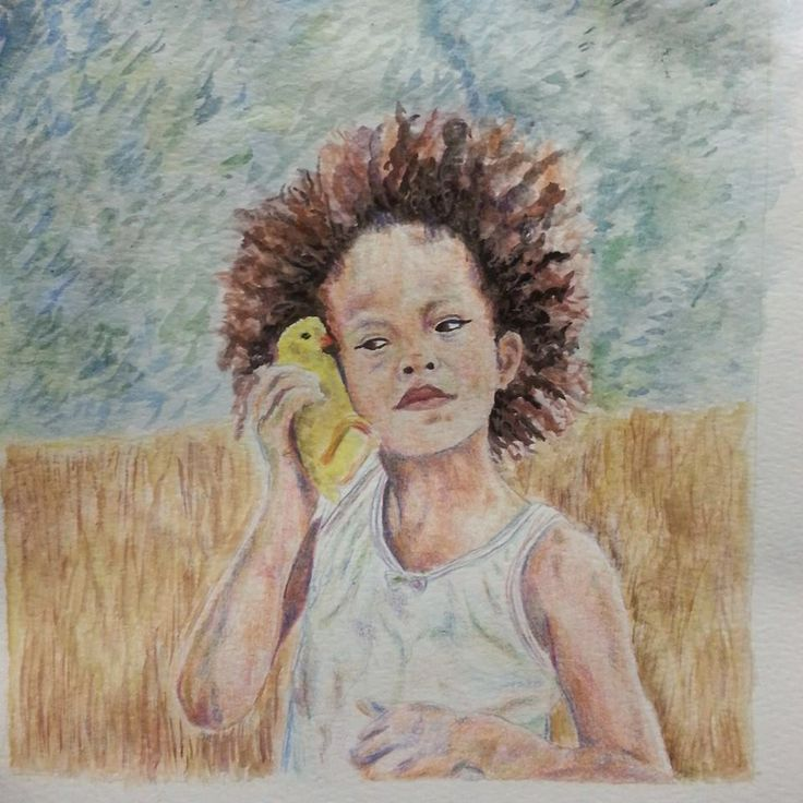 Hushpuppy, beasts of the southern wild, multimedium sketch i did for highschool.