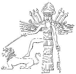 Arbela. Ištar on a Neo-Assyrian seal (from J. Black &  A. Green, Gods, demons and symbols of ancient Mesopotamia)