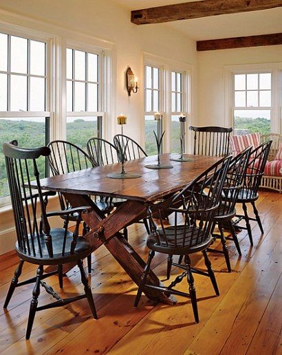 antique 1860 dining room set  ~ I love this rustic looking table & we already have these chairs in white :o) The 2 taller chairs would be perfect for the head of the table as shown...