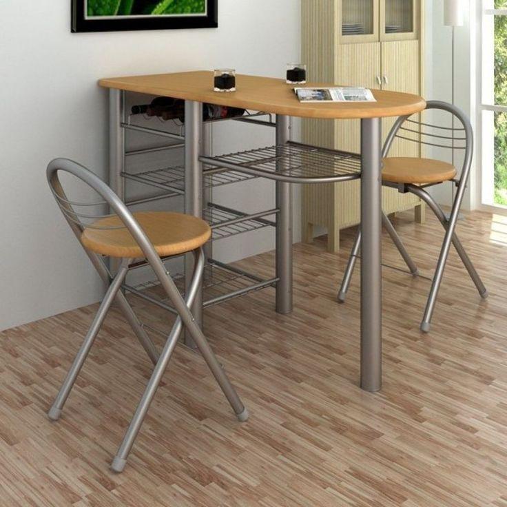 Breakfast Bar Table Set Stools Kitchen Storage Shelves Wine Rack Chairs
