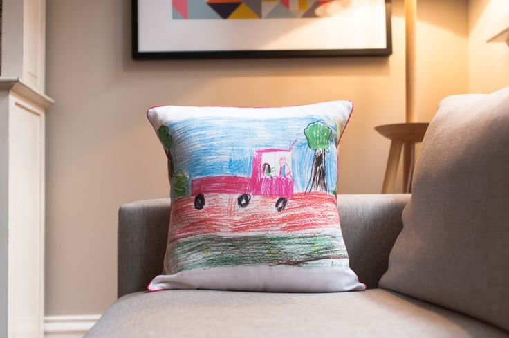 make kids art into cushions- playroom, gifts for grandparents