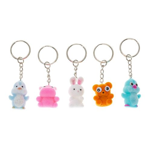 5 Pack Best Friends Cute Glitter Animal Keyrings