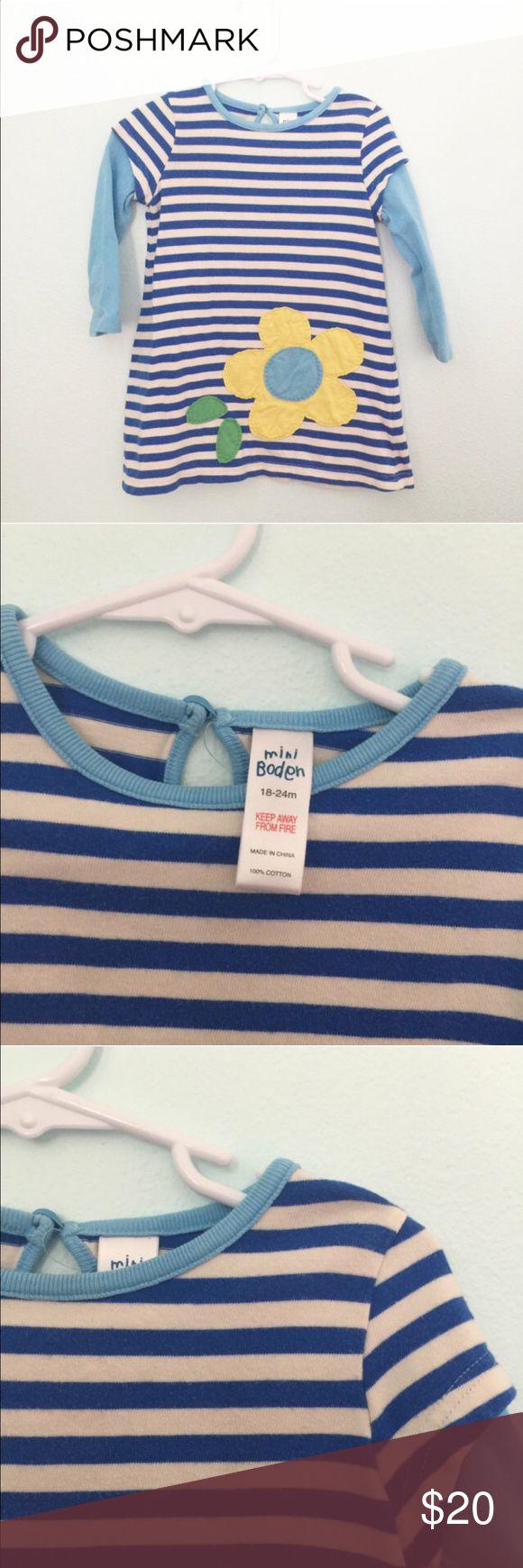Mini Boden dress Blue striped flower appliqué dress #appliqué  #miniboden #stripes #blue Mini Boden Dresses Casual