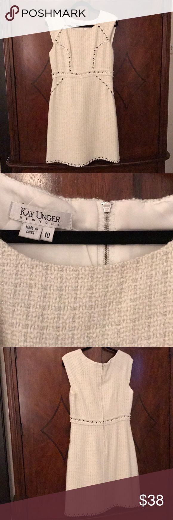 "Kay Unger NWOT White Boucle Dress Sz 10 NWOT!! Beautiful Kay Unger creamy white boucle sheath dress with black accents. Measures 36"" from back of neck to bottom hem. From a non smoking home. Reasonable offers considered! Thank You! Kay Unger Dresses Midi"