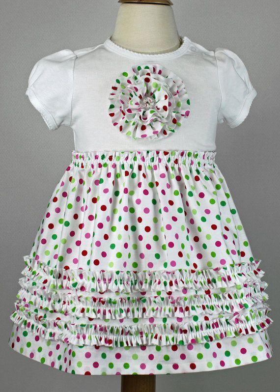 Christmas T Shirt Dress Ruffles Rosette Toddler Pattern