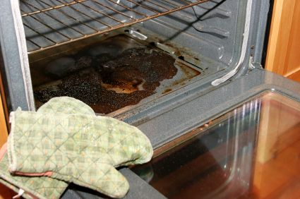 DIY: OVEN CLEANER. Mix: 2 C. Water (hot), 1 T. Dish Soap (Dawn), and 1 Tsp. Borax (or Baking Soda) in spray bottle. Spray on, let sit for 20 minutes, and wipe off with a clean cloth. For an extra-greasy mess, wipe off as much loose goop as possible first, with a crumpled newspaper.