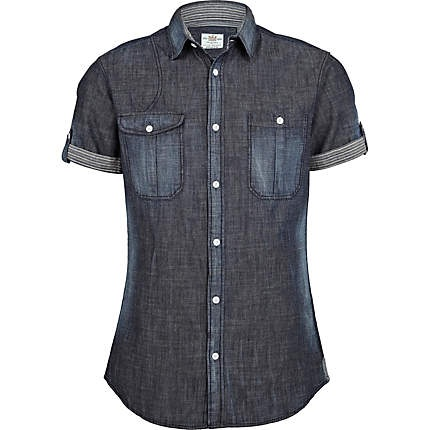 blue denim shirt - short sleeve shirts - shirts - men - River Island