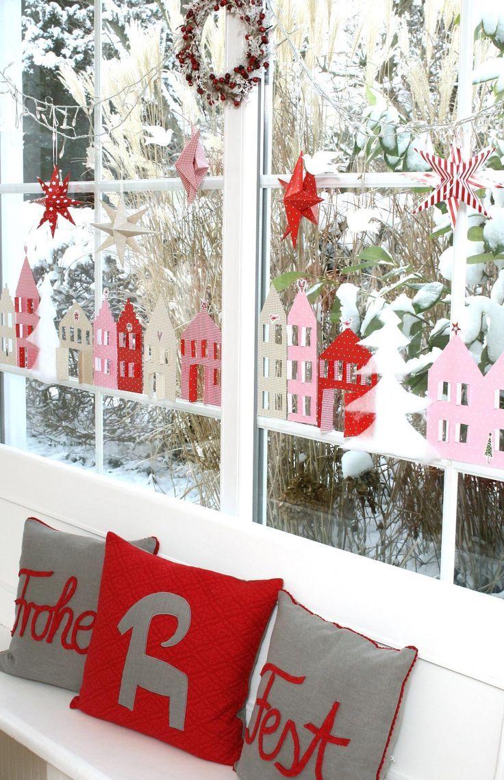 DIY Dezember acufactum Papierhaeuser am Fenster