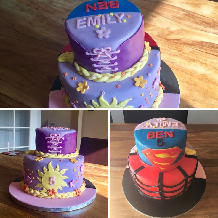 Superhero and princess cake