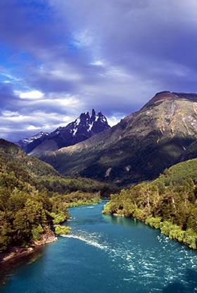Futaleufu, Chile. It is this beautiful in person, and is the home of one of the most powerful white-water rivers in the world.