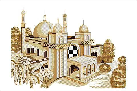 "Free cross-stitch pattern ""Mosque"" 