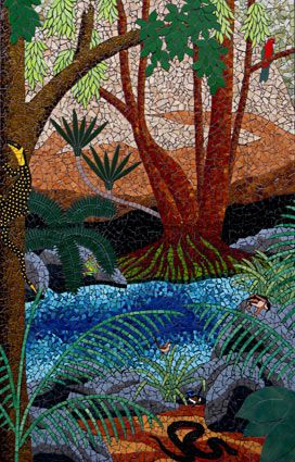 Rock Pool. Mosaic murals in ceramic tiles ~  by Brett Campbell Mosaics