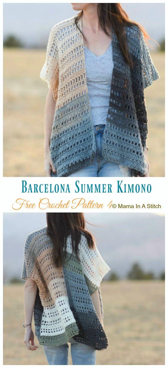 b66267cbbf65e3 Barcelona Summer Kimono Cardigan Crochet Free Pattern - Women  Kimono    Cardigan  Free  Crochet  Patterns