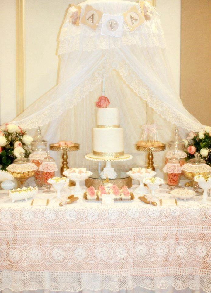 Vintage Peach Gold Baby Shower, Dessert Buffet, Party Inspiration And  Ideas, Www.